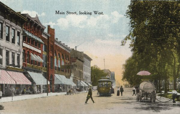A view of Main Street on the Capitol Square, looking west.