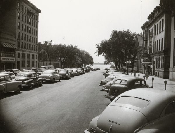 View down Monona Avenue, which is now Martin Luther King, Jr. Boulevard, toward Lake Monona.