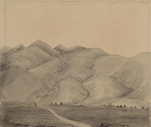 "Bear Valley in Utah with a wagon train descending the mountains. sketched by Wilkins on his 151-day journey from Missouri to California on the Overland Trail (also known as the Oregon Trail).  Wilkins writes in his diary: ""We are now continuing up Bear River, a beautiful valley with plenty of grass, but scarce of timber, there being except in a few instances nothing but Willows on the border of the stream. But the bluffs on each side (or they may almost be called mountains they are so very high) are the finest I have seen; rich in color oweing to a kind of red clay that makes its appearance here and there thro' the scanty grass, diversified with small bushes and patches of Cedar...this morn we started at sunrise, being obliged to leave the river bottom, oweing to a cannion, and ascend and descend the mountain the steepest and longest ascent we have made on the route. I made a sketch of the descent on the other side, but oweing to the clouds of dust, it was anything but pleasant to sit sketching."""