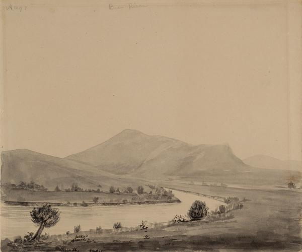 "Bear Valley in Utah; sketched by Wilkins on his 151-day journey from Missouri to California on the Overland Trail (also known as the Oregon Trail).  Wilkins writes in his diary: ""We are now continuing up Bear River, a beautiful valley with plenty of grass, but scarce of timber, there being except in a few instances nothing but Willows on the border of the stream. But the bluffs on each side (or they may almost be called mountains they are so very high) are the finest I have seen; rich in color oweing to a kind of red clay that makes its appearance here and there thro' the scanty grass, diversified with small bushes and patches of Cedar...this morn we started at sunrise, being obliged to leave the river bottom, oweing to a cannion, and ascend and descend the mountain the steepest and longest ascent we have made on the route. I made a sketch of the descent on the other side, but oweing to the clouds of dust, it was anything but pleasant to sit sketching."""