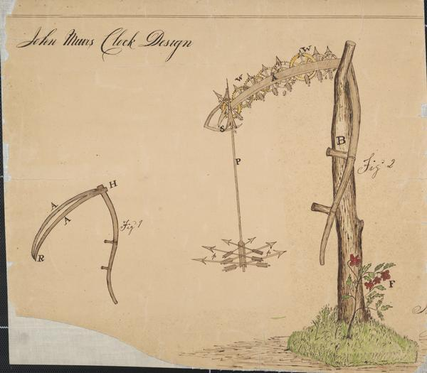 Sketch of John Muir's clock design.The built clock was a combination of scythes, wheels and arrows. A rough bough of burr oak was set upon a base incrusted with moss. In one of the branches is hanging a miniature scythe with a regularly fashioned snathe and handles. At the place of union were attached two wooden scythes, swelling slightly from each other, but united at the points. Filling the space between the scythes from heels to points was a succession of wooden cog-wheels and small wooden dials. Depending from the scythe points was a wooden pendulum in the shape of an arrow, hanging point down. At its lower end forming the ball of the pendulum, was a cluster of six copper cents in use at that day. To the uppper end of the arrow pedulum was attached two tin copper scythes (also formed out of coins) which, as the pendulum swung, would move as in mowing, the points of the scythes at each swing catching a cog in the little wheel placed there, thus setting in motion the whole machinery. In addition to the records of the larger clock, this one told also the month and the year, and could be attached to the bed alarm.