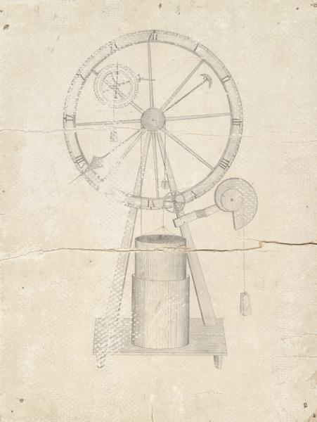 A sketch of a clock design by John Muir.