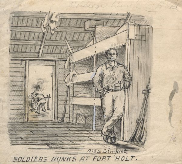 Drawing of a soldier holding a cup, standing next to his bunk at Fort Holt. Civil War firearms are in the closet on the right. Another man is in the background working (seen through an open doorway of the room.)