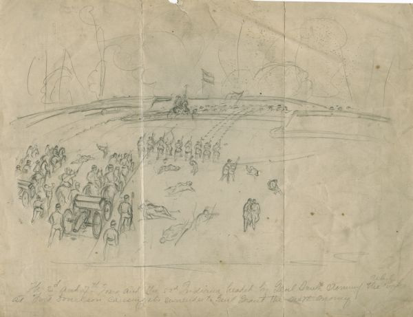 """The 2nd and 7th Iowa and the 52nd Indiana headed by General Smith storming up the rebel works at Fort Donelson causing its surrender to General Grant the next morning.""  The sketch includes soldiers on a battlefield, men on horseback pulling a wagon with a cannon and some wounded and dying soldiers."
