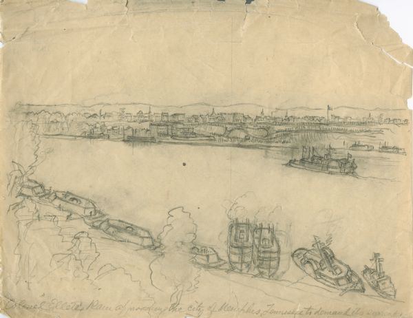 """Colonel Ellet's Rams approaching the city of Memphis, Tennessee, to demand its surrender.""  Sketch of a cityscape in the background, the river with numerous ships (rams) navigating along it and another boat (steamboat?) in the middle ground."