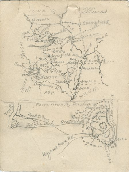 A hand-drawn map of the state of Missouri with a separate drawing of a map showing Forts Henry and Donelson. The Missouri map includes Jefferson City and surrounding towns and Springfield and surrounding towns.