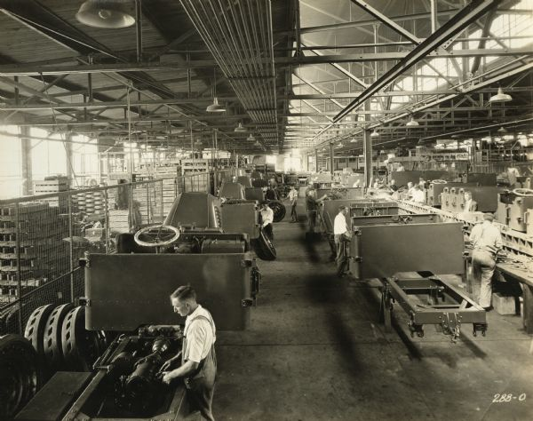 The interior of the Truck Assembly Room at the Winther Motor and Truck Company factory.