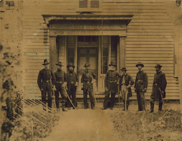 General Edwin Vose Sumner and his staff officers: (from left to right) Capt. A.H. Cushing; Capt. L. Kipp; Major Clark; Lt. Col. Joseph Taylor; Major General E.V. Sumner; Capt. Samuel Sumner; Surgeon Hammond; Lt. Col. Lawrence.