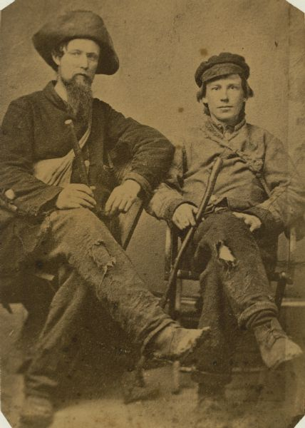 Lieutenant A.T. Lamson of Madison and Lieutenant E.E. Sill as they appeared when they reached the Union lines after escaping from Confederate prison at Columbia, South Carolina in either 1864 or 1865.