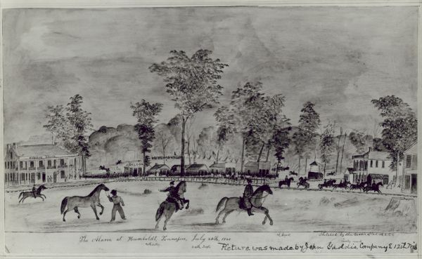 The alarm at Humboldt, Tennessee, July 28th, 1862.  A watercolor by John Gaddis of the 12th Wisconsin Volunteers Company E.