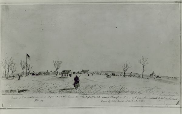 Ossawattamie, Kansas, as it appeared at the time the 12th Wisconsin Volunteer's passed through on their march from Leavenworth to Fort Scott in March of 1862.  Watercolor by John Gaddins of Company E.