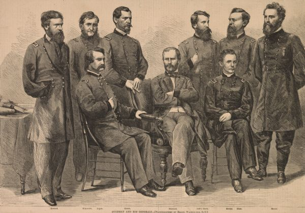 """Sherman and His Generals"" etching after Brady photograph."
