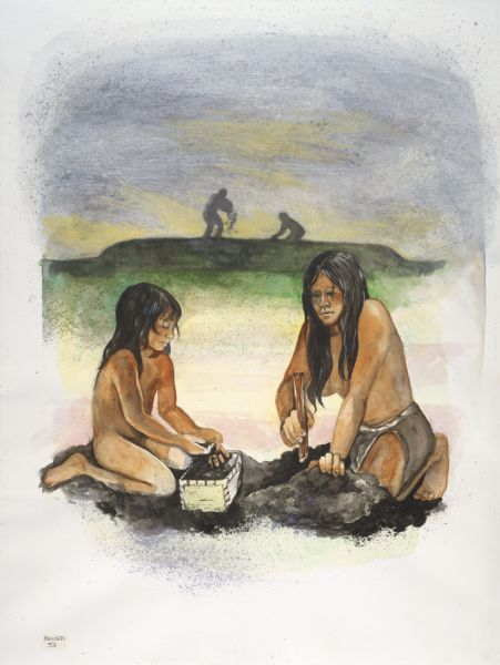 A watercolor of prehistoric Indians building an effigy mound.