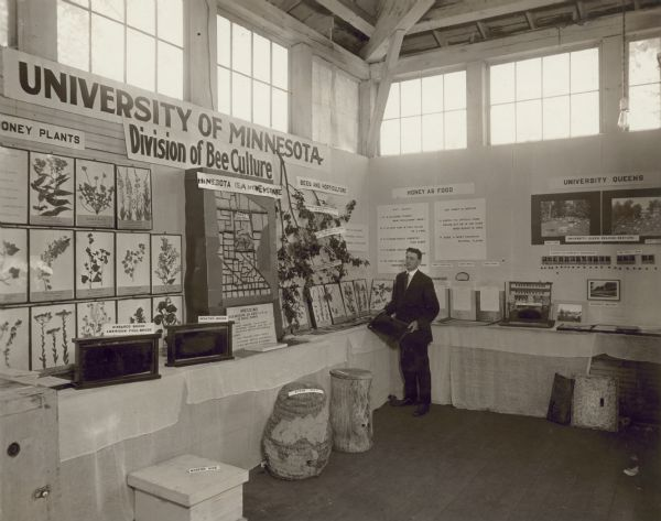 Display for the University of Minnesota's Division of Bee Culture. An unknown man wearing a suit and tie and holding a hive frame stands near the display. Examples of foul brood and healthy brood are in frames displayed on the table. On the floor is a modern hive box, straw skep, and a hollow log with a wood cover.