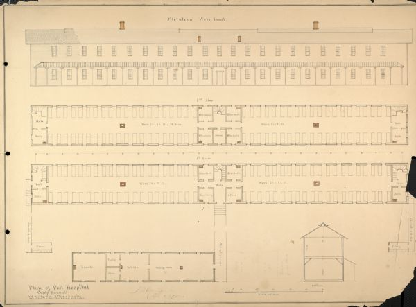 Plan and elevation of the post hospital at Camp Randall.