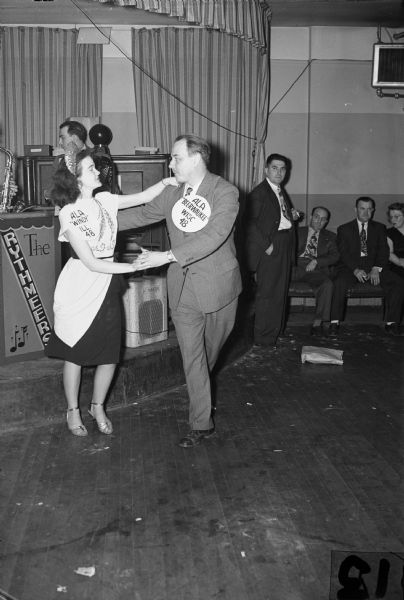 """Inter-City Fun Fest"" dance sponsored by the Amalgamated Lithographers of America.  Chicago's Mrs. Peggy Schabert dances with Mr. Gil Naps, Milwaukee."