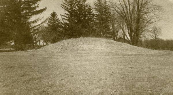 One of the large burial mounds of the Outlet mound group on the former Hoyt property at the foot of Lake Monona.