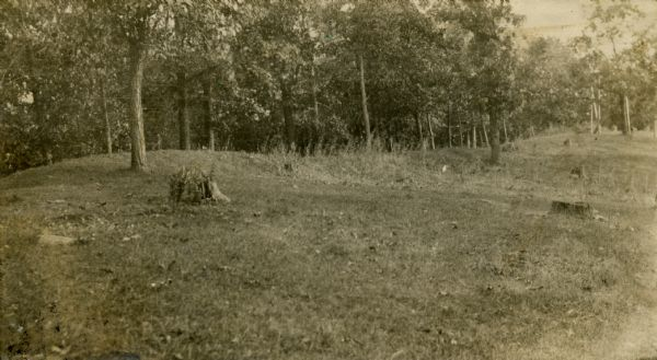 A linear burial mound at the T. Lewis Mound group in what is now Indian Mounds Park.