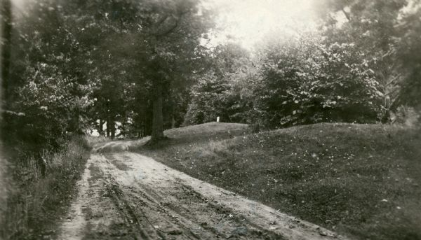 "A row of conical burial mounds adjoins the Park and Pleasure Drive on the north shore of Lake Wingra (now Edgewood Drive, at the south edge of Edgewood College). Caption on the back reads ""Permanently preserved and marked with tablet."""