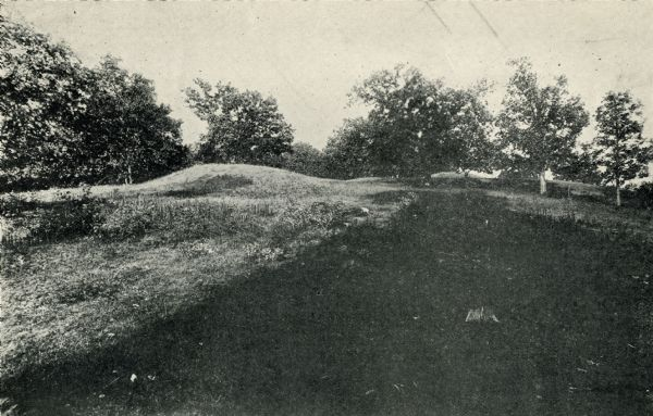 A row of conical mounds at Morris Park on the west side of Lake Mendota, in or near Governor Nelson State Park.