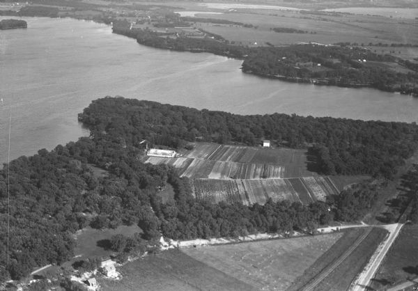 Aerial view of Turville Point and Turville farm, Lake Monona.