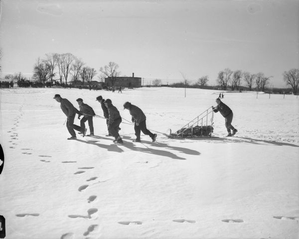 "Boy scout sled team participating in the Klondike Derby sled race. The boys are pulling the sled on the Monona Golf Course, with Nichols School in the background. Nearly 300 scouts from the Dane County area participated in ""Operation Klondike"" which tested the boys in first aid, ice rescue, fire building and compass knowledge."