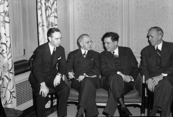 Republican Presidential candidate Wendell Willkie with three of his delegates, Vernon Thomson (R-Richland Center), George Skogmo (R-Milwaukee), and William J.P. Aberg (R-Madison), during Willkie's 1944 campaign.