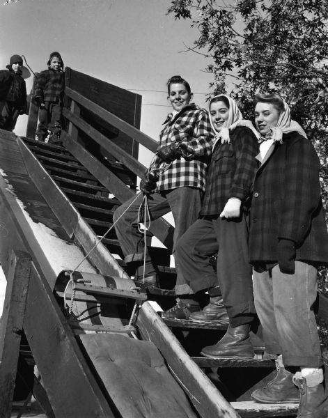 Three teenagers posed on the steps of the toboggan slide at Hoyt Park. Ascending the steps are Al Gay, Mary Homann, and Ruth Ann Gay. Two young boys are standing at the top of the steps looking down.