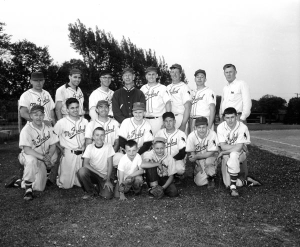 Group portrait of the McFarland Home Talent League baseball team.