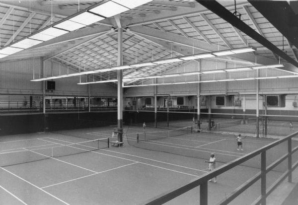 Interior view of the Nielsen Tennis Stadium on Marsh Lane. The $4.2 million structure opened in 1968 as a result of a gift rom A. C. Nielson Sr., best known for the Nielson television ratings.