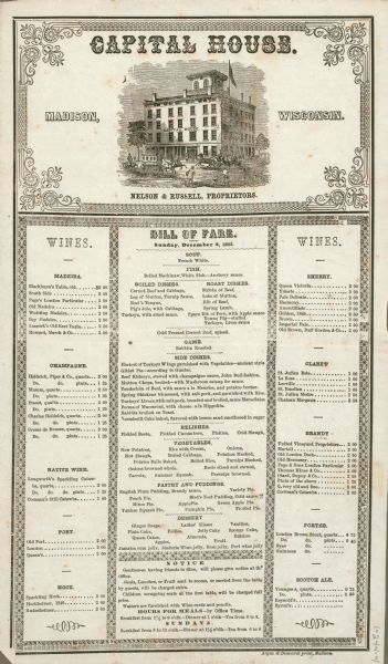 The Capital House bill of fare for Sunday, December 2, 1855. Proprietors were Nelson & Russell.