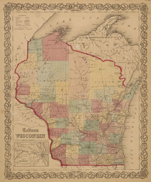 This 1859 railroad map shows counties, cities, rivers and lakes in the entire state of Wisconsin. It includes an inset depicting the railroads in Milwaukee that connected Brookfield, Wauwautosa, Waukesha, Menomonee, Pewaukee, New Berlin, Granville and Lisbon.