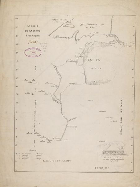 Facsimile of the autograph map of the Mississippi or Conception River drawn by Father Marquette at the time of his voyage. From the original preserved at St. Mary's College, Montreal.