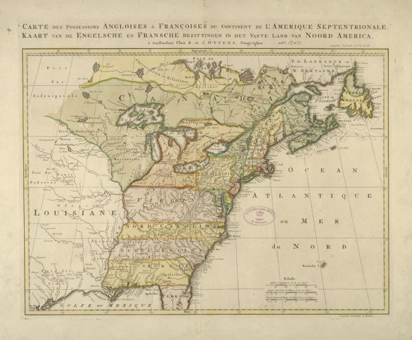 "Color map of North American territories owned by the English and by the French. Scale: about 115 milles d'Angleterre to 1 inch. French title is ""Carte des possessions angloises & francoises du continent de l'Amerique Septentrionale"".  Title also in Dutch: ""Kaart van de Engelsche en Fransche Bezittingen in Het Vaste Land van Noord America""."