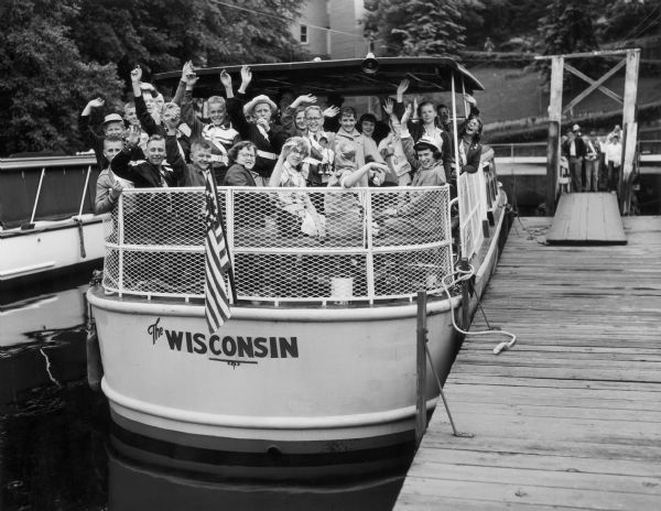 Safety Patrol on Wisconsin boat at boat docks.