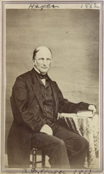 "Carte-de-visite portrait of Albert D. Hager (1817-1888), assistant state geologist for the Vermont state geological survey at the time of this photograph. He also served as the publisher for many of the survey reports. Served as Vermont State Geologist from 1864-1870, and Missouri State Geologist from 1870-71. Handwritten text at the top and bottom of the image read, ""Hager, 1862,"" and ""A.D. Hager, 1862,"" respectively."