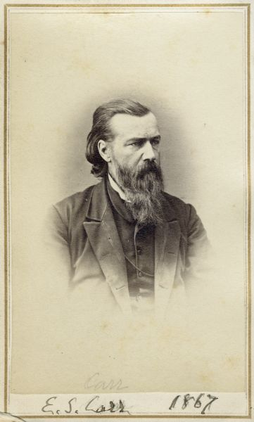 "Vignetted carte-de-visite portrait of Ezra S. Carr, geologist and California State Superintendent.  He held chemistry professorships at various institutions.  Bottom of image bears handwritten inscription, ""E.S. Carr, 1867."""