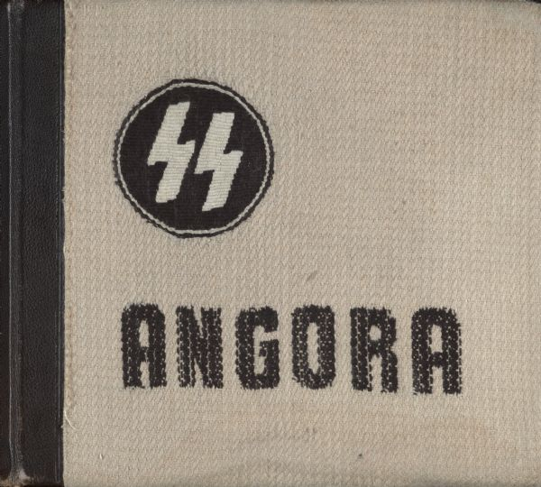 "Cover of ""Angora."" The cover of the album is of woven rabbit wool bore. The two Sig Runes included on the cover were the insignia of the Schutzstaffel (SS)."