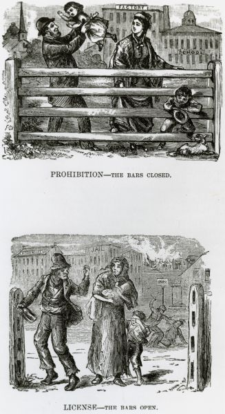 Two drawings illustrating a hyperbolic comparison between a society which permits drinking of alcoholic beverages and one that does not.