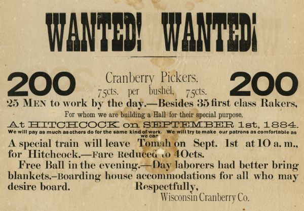 Poster advertising the need for workers to pick cranberries for the Wisconsin Cranberry Company.