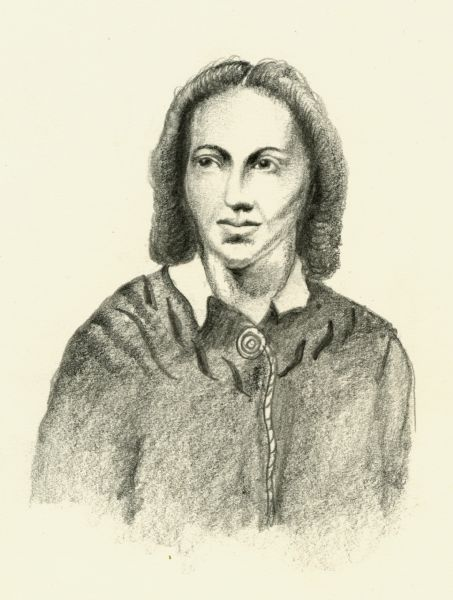 Pencil sketch of Belle Boyd, a Confederate spy who is buried in Wisconsin.