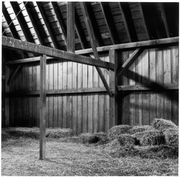 View of the haymow inside the barn of the Quinney farm.