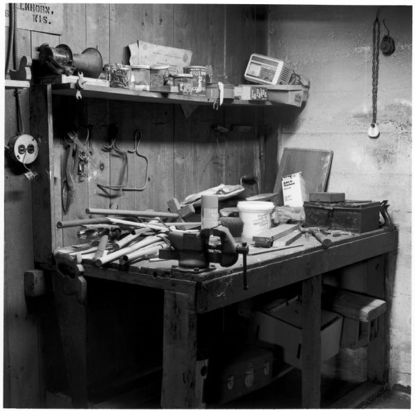 Basement work bench on the Quinney farm.