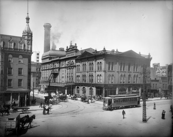 Pabst Theater Building at E. Wells and N. Water street. The Hotel Blatz is on the left.