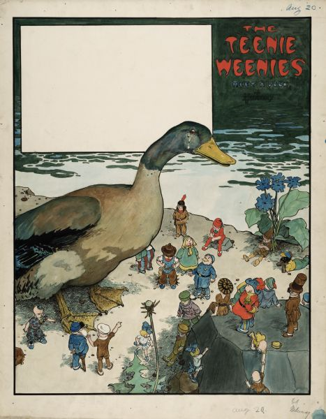"An original ink drawing of William Donahey's ""Teenie Weenies."" This colorful drawing features several Teenie Weenies gathered around a mallard duck with tears in its eyes."