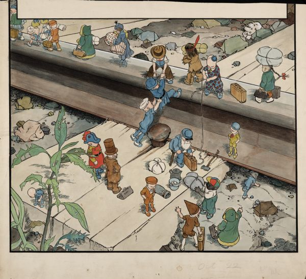 When the Teenie Weenies take a vacation, they get into all kinds of trouble. In this illustration, the Teenie Weenies are stranded far from home after their steamboat stops working. They decide to take the most direct route home: the railroad tracks.