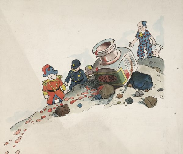 "An original ink drawing of William Donahey's ""Teenie Weenies."" The colorful drawing features the General, the Policeman, Gogo, the Clown, and the Cook climbing on rocks and discovering a bottle of red ink.  The drawing is unsigned and undated."
