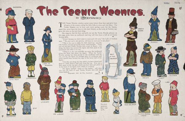 William Donahey's Teenie Weenie Dolls. The print features many of the characters: the General, the Sailor, the Lady of Fashion, Mrs. Lover, the Doctor, Turk, and many more. The text instructs boys and girls how to cut out the Teenie Weenie pictures so they can have a full set of Teenie Weenie dolls.