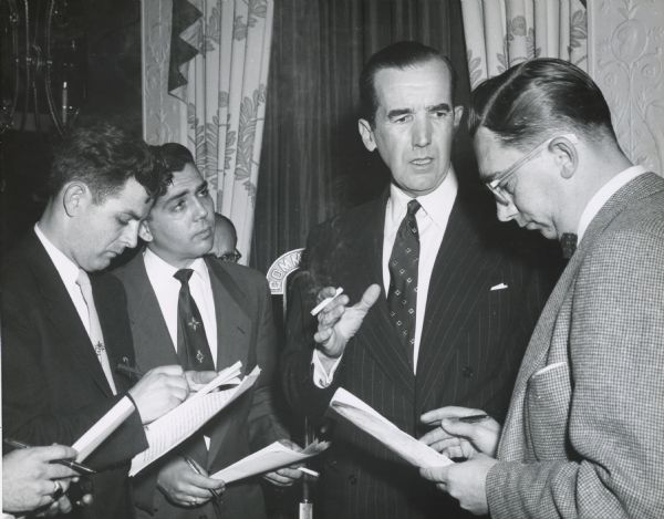 "Edward R. Murrow of CBS. On March 9, 1954, Murrow broadcast an episode of his ""See It Now"" series about Senator Joseph R. McCarthy and McCarthyism, and on April 6 devoted the entire program to the senator's response.  As a result, Murrow found himself making the news, not just broadcasting it.  Although the public was widely acquainted with McCarthy and McCarthyism, that was largely through newspapers and the radio.  The Murrow television program (and the subsequent Army-McCarthy hearings, portions of which were also televised), allowed the public to see McCarthy in action.  Murrow is now credited with a share of the credit for causing McCarthy's downfall."