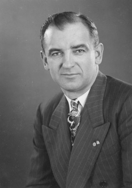 Senator Joseph R. McCarthy of Wisconsin, whose name became synonymous with an era of extreme anti-communism.